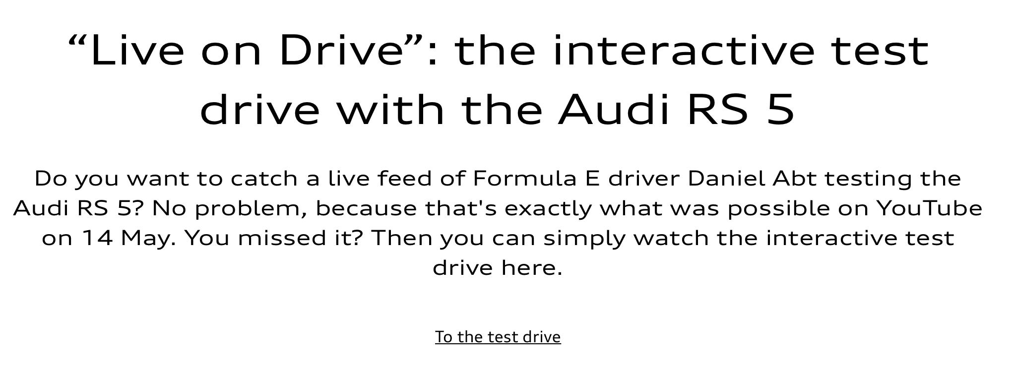 digital test drive cta for Audi