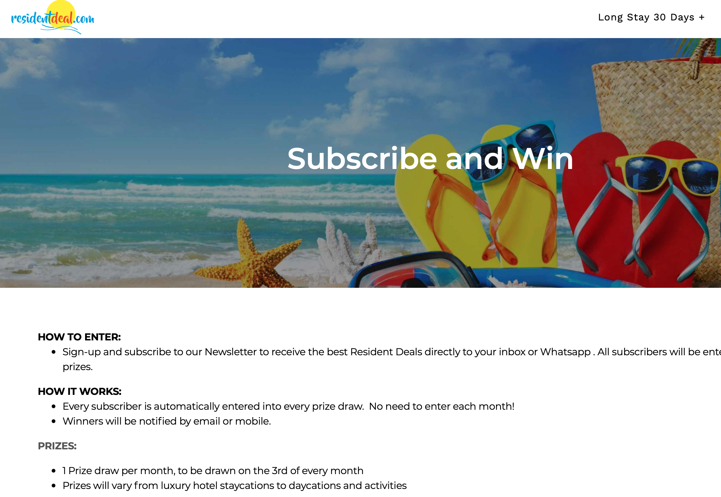 resident deal subscribe to win cta